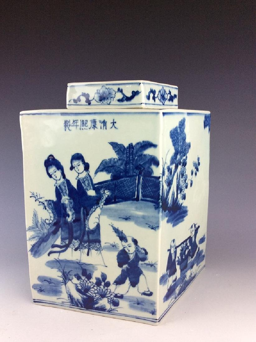 Chinese porcelain pot with lid, blue &  white glazed,