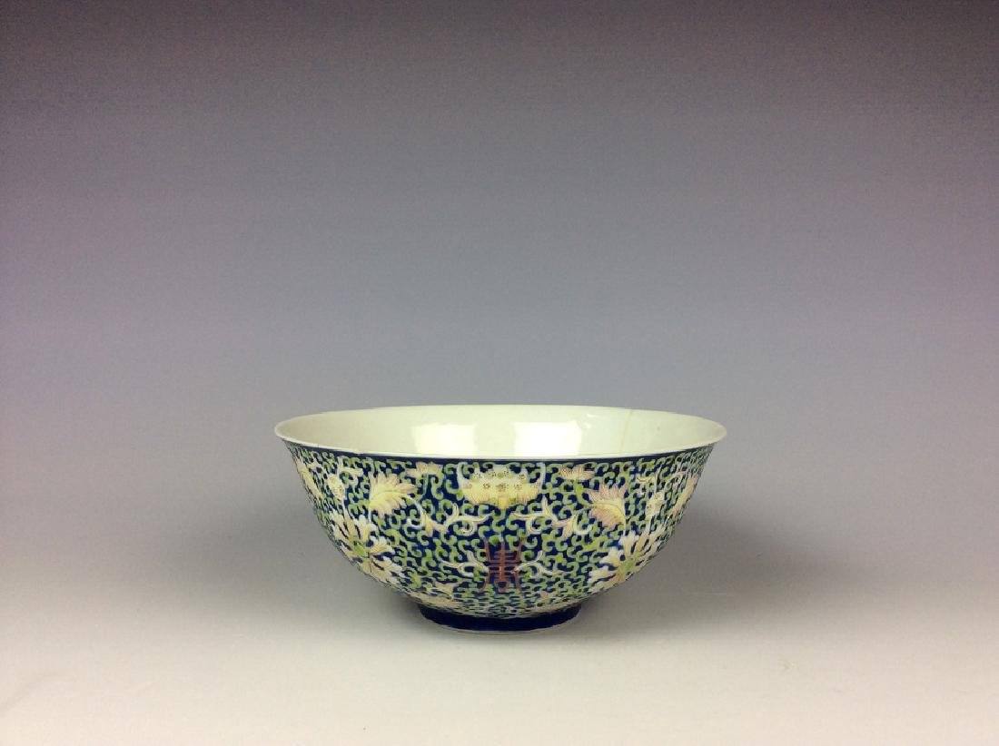 Chinese cobalt blue glaze porcelain bowl painted with