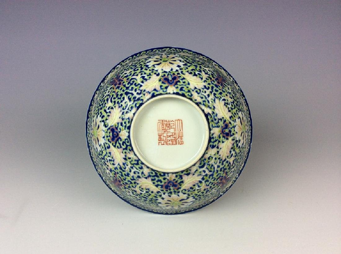 Chinese cobalt blue glaze porcelain bowl painted with - 2