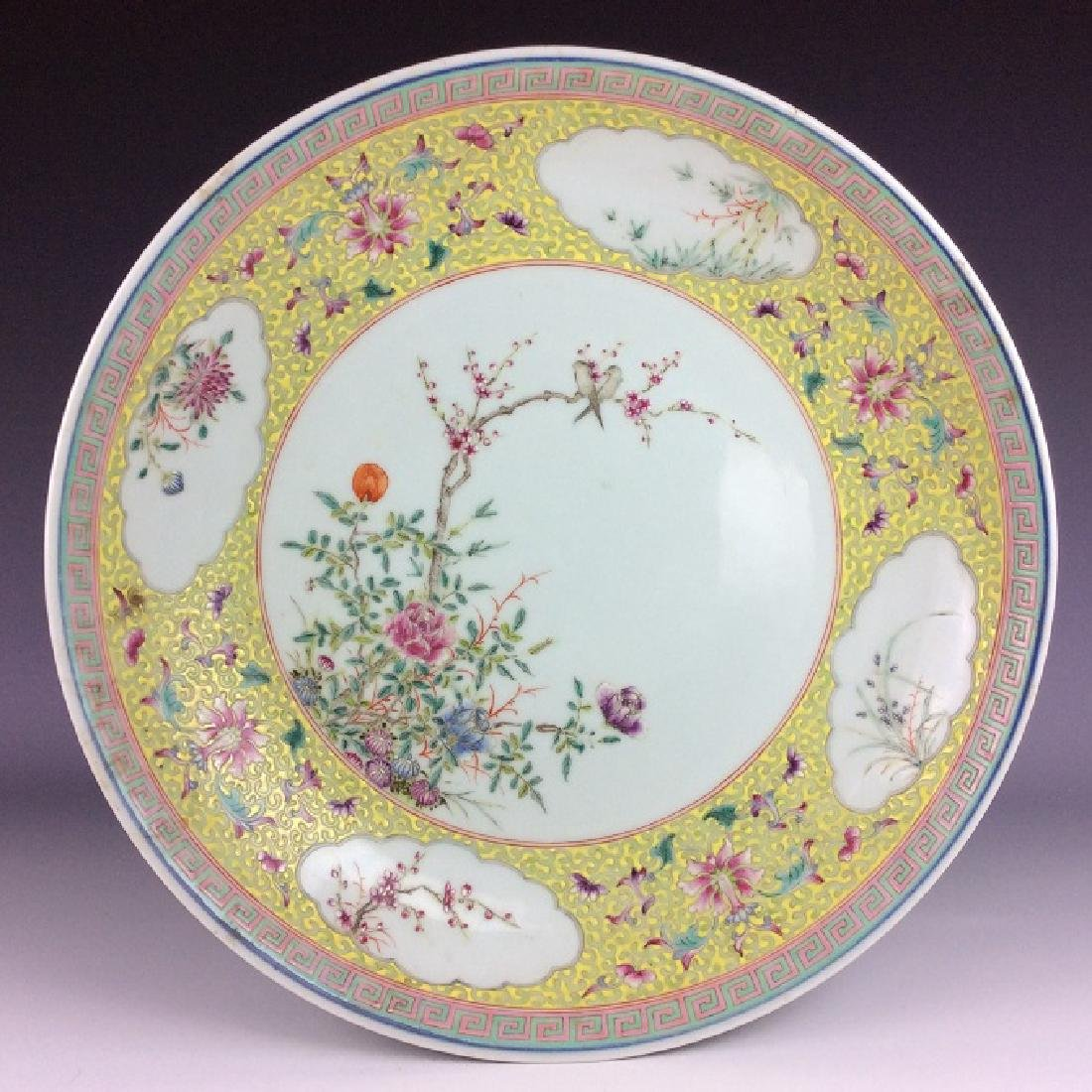 Rare & Fine 19C large Chinese porcelain plate, famille