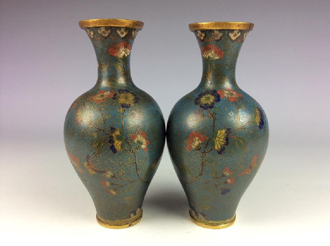 Pair of Chinese cloisonne vases  with plum flower and