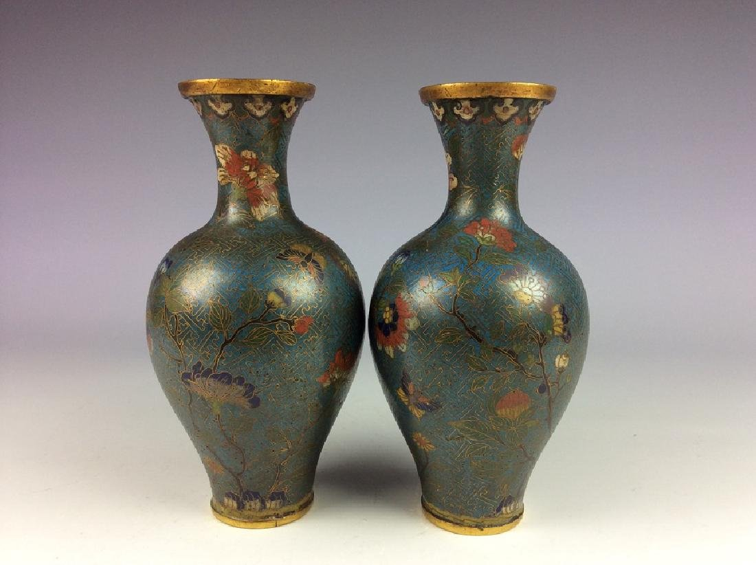 Pair of Chinese cloisonne vases  with plum flower and - 2