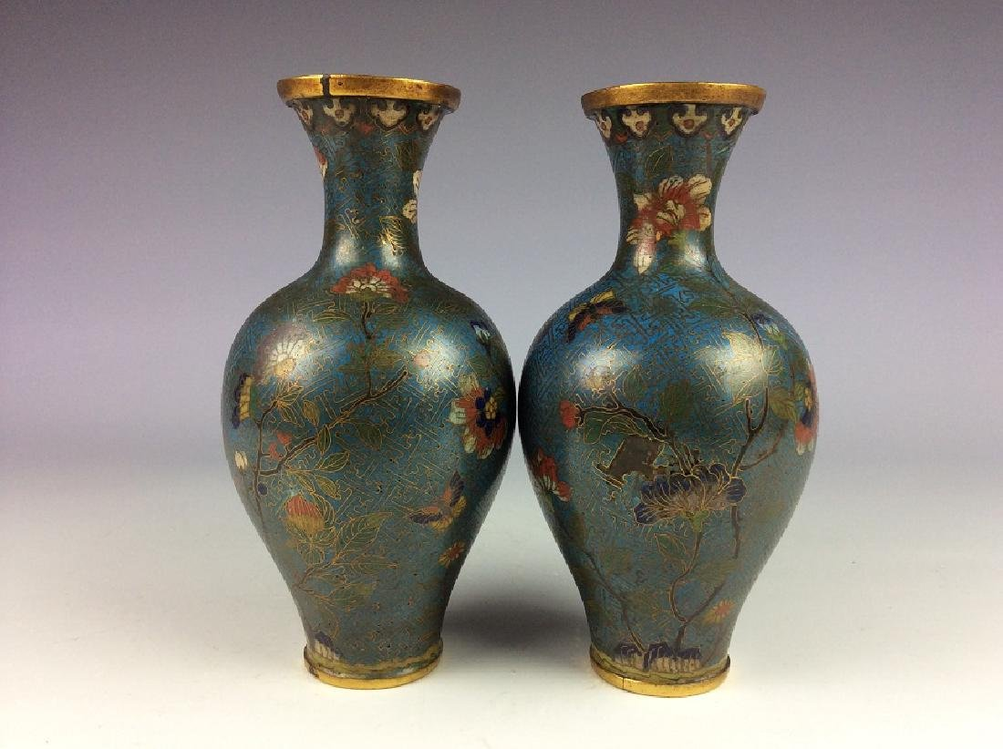 Pair of Chinese cloisonne vases  with plum flower and - 3