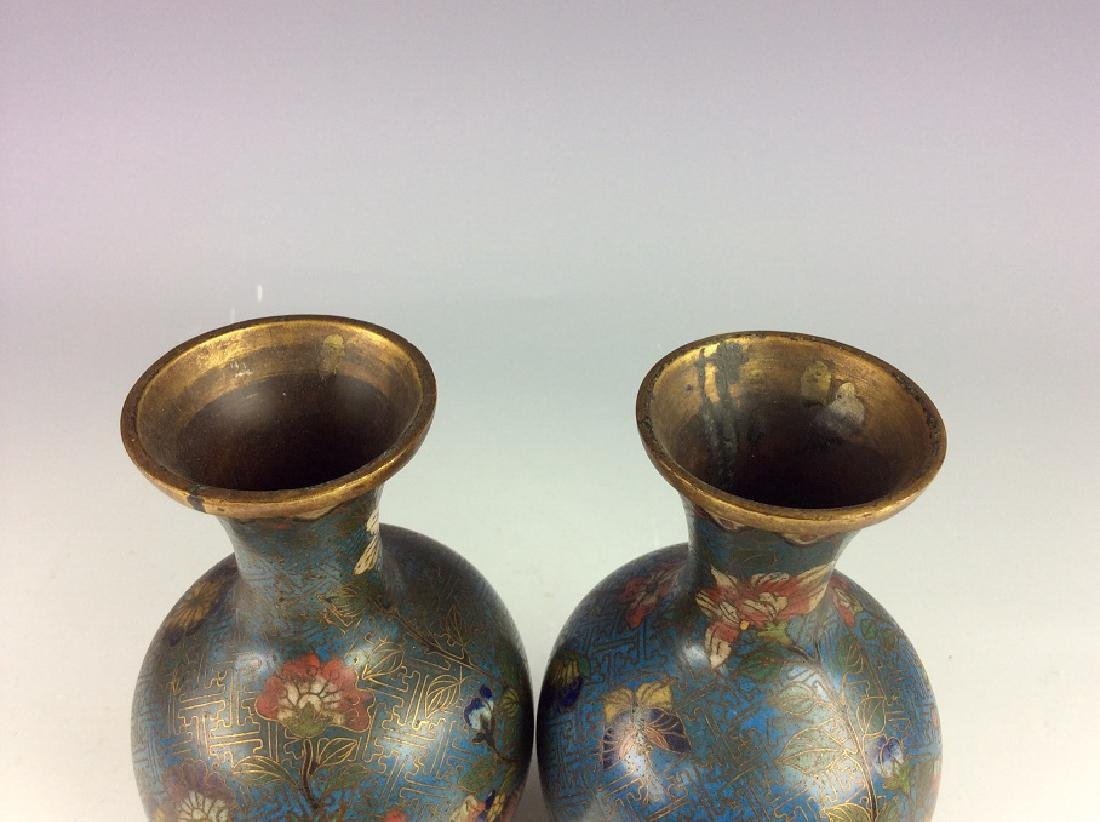 Pair of Chinese cloisonne vases  with plum flower and - 4