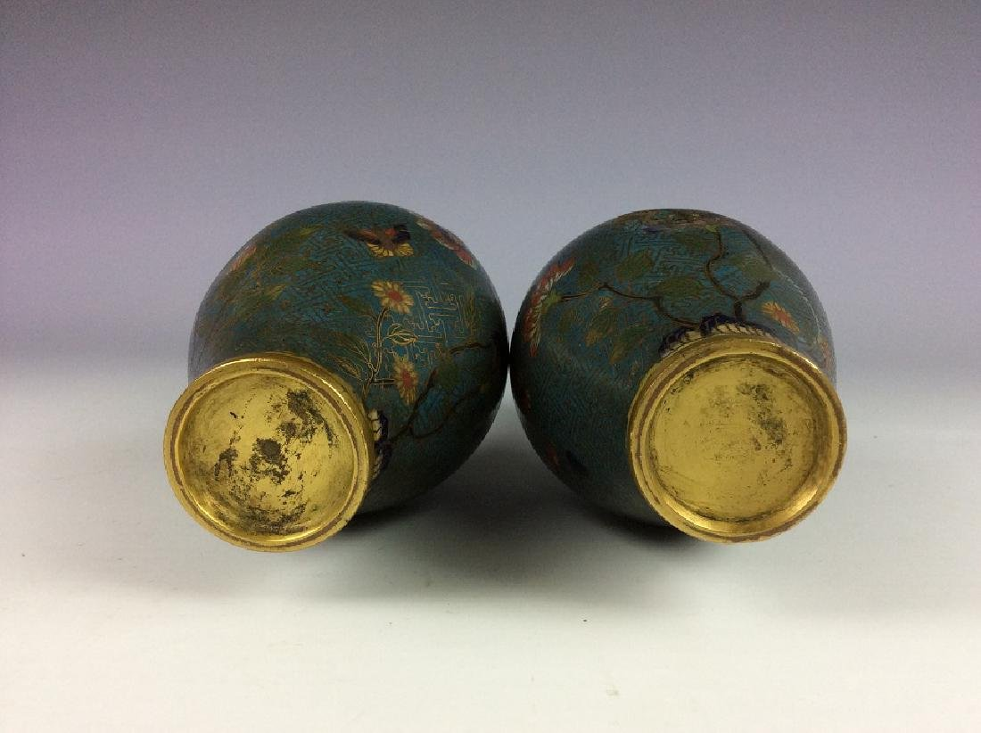 Pair of Chinese cloisonne vases  with plum flower and - 5