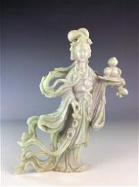 Chinese Jadeite carved female immortal