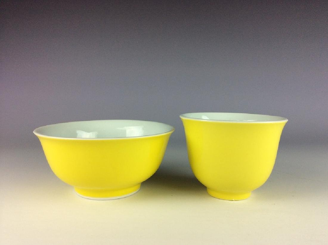 A set of Chinese porcelain cup& bowl, yellow glazed,