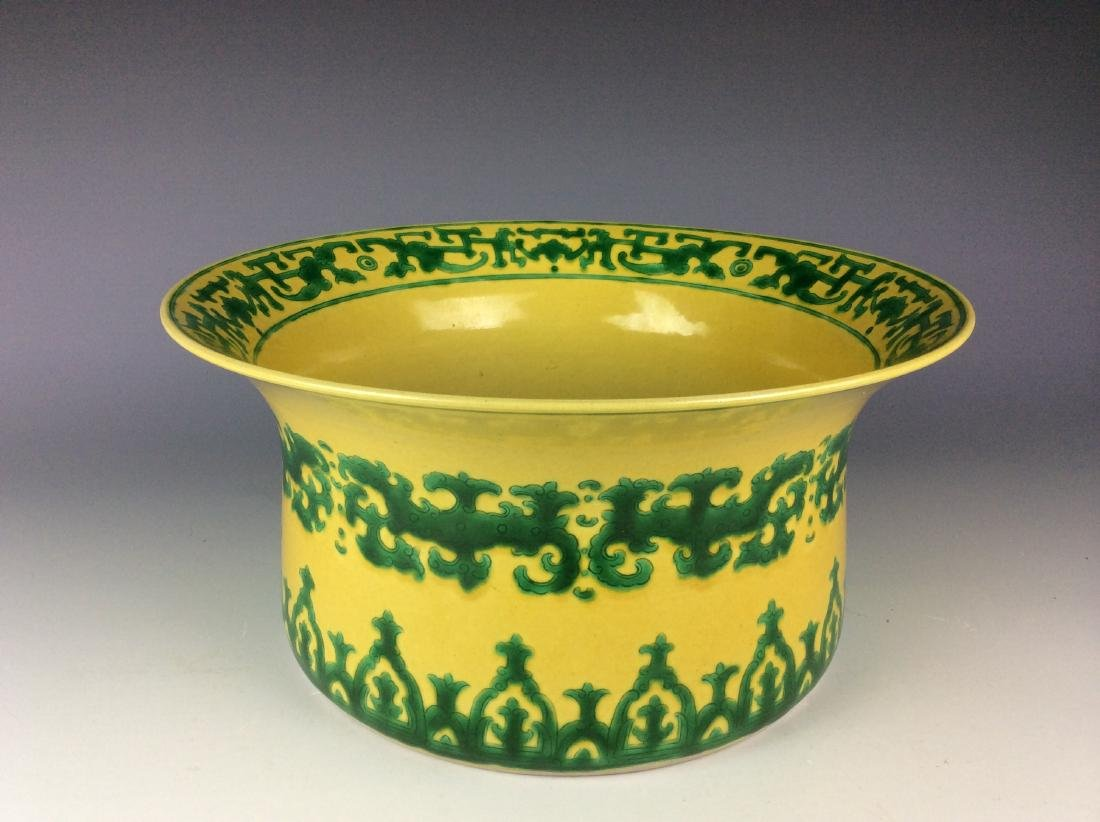 Vintage Chinese yellow glaze washer with green dragon