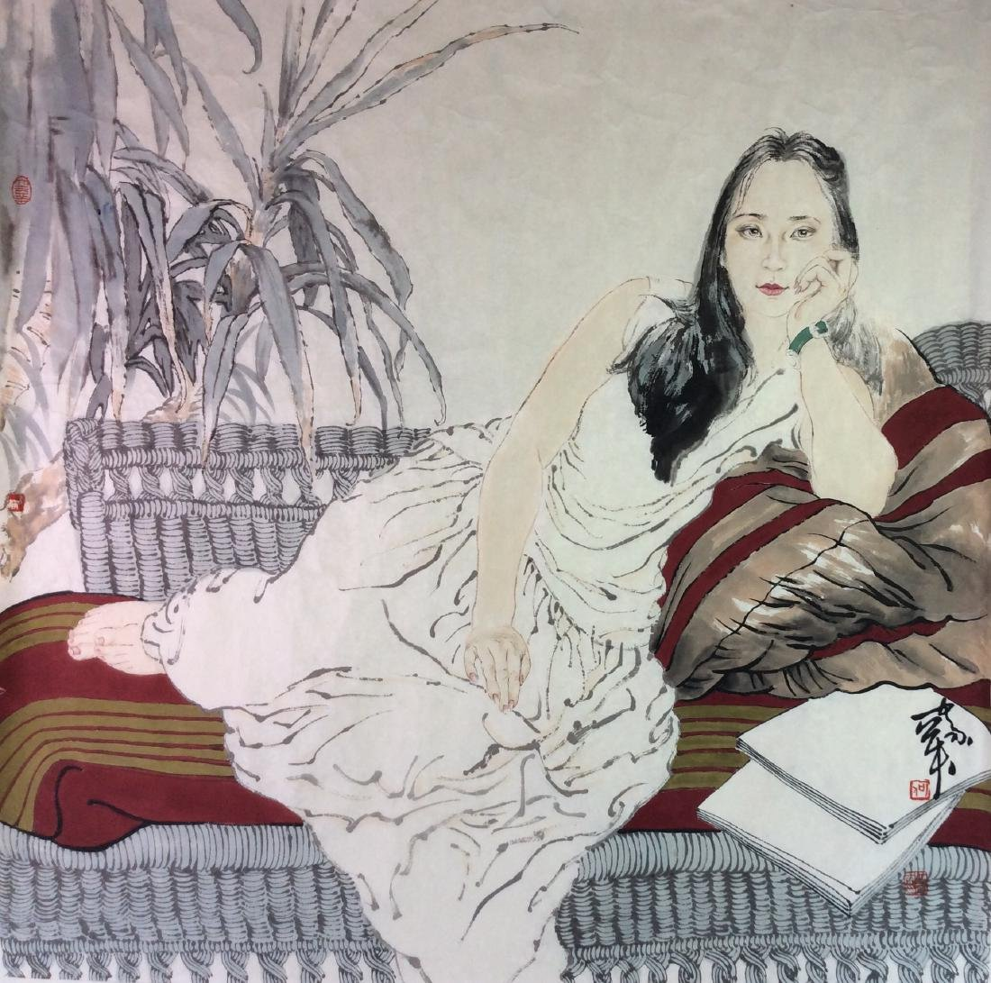 Chinese hand painted painting leave
