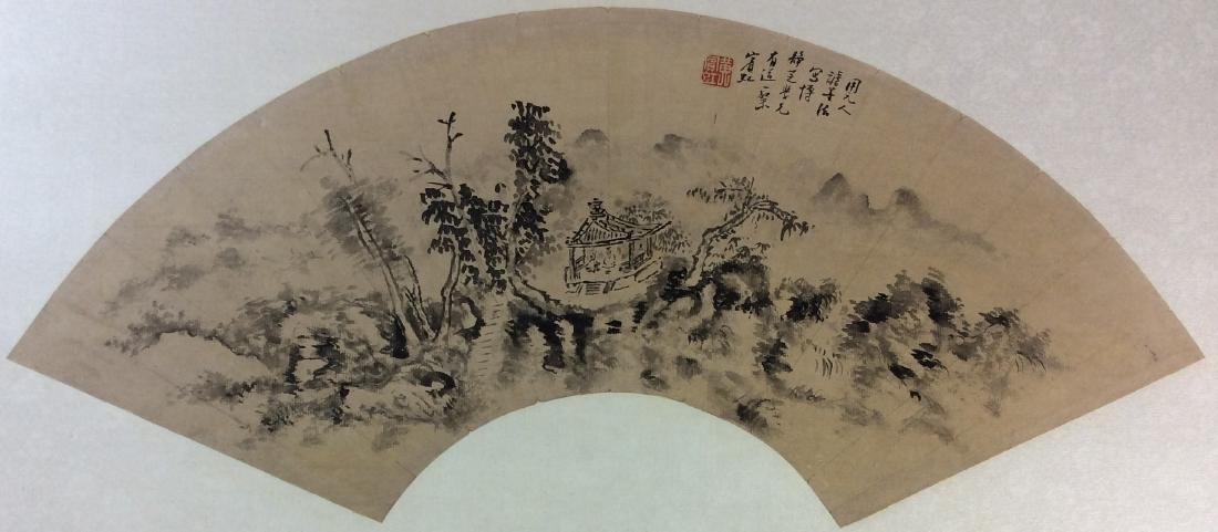Fine Chinese fan painting, water color and ink on paper
