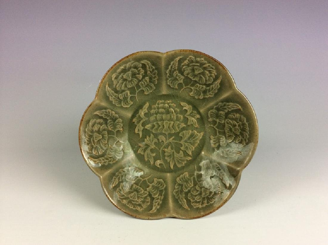 Song style Yaozhou Chinese porcelain dish, Carved