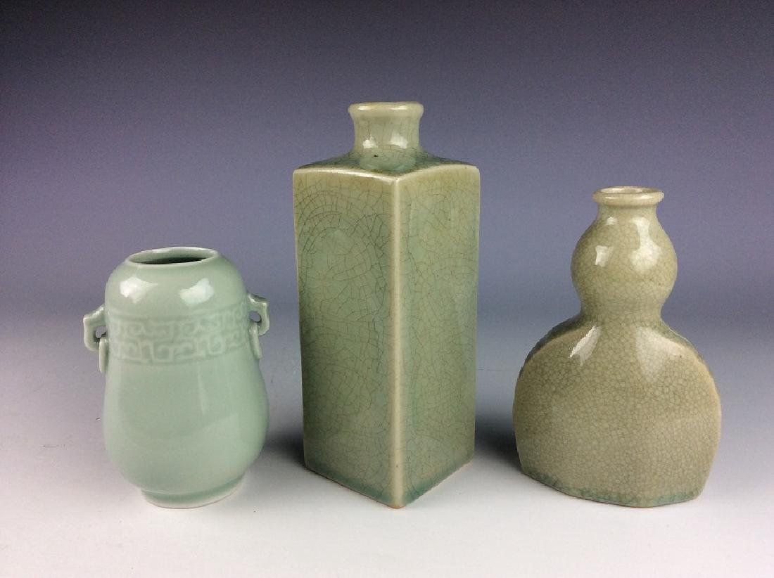 3 piecies of Chinese porcelain vases, celadon glazed