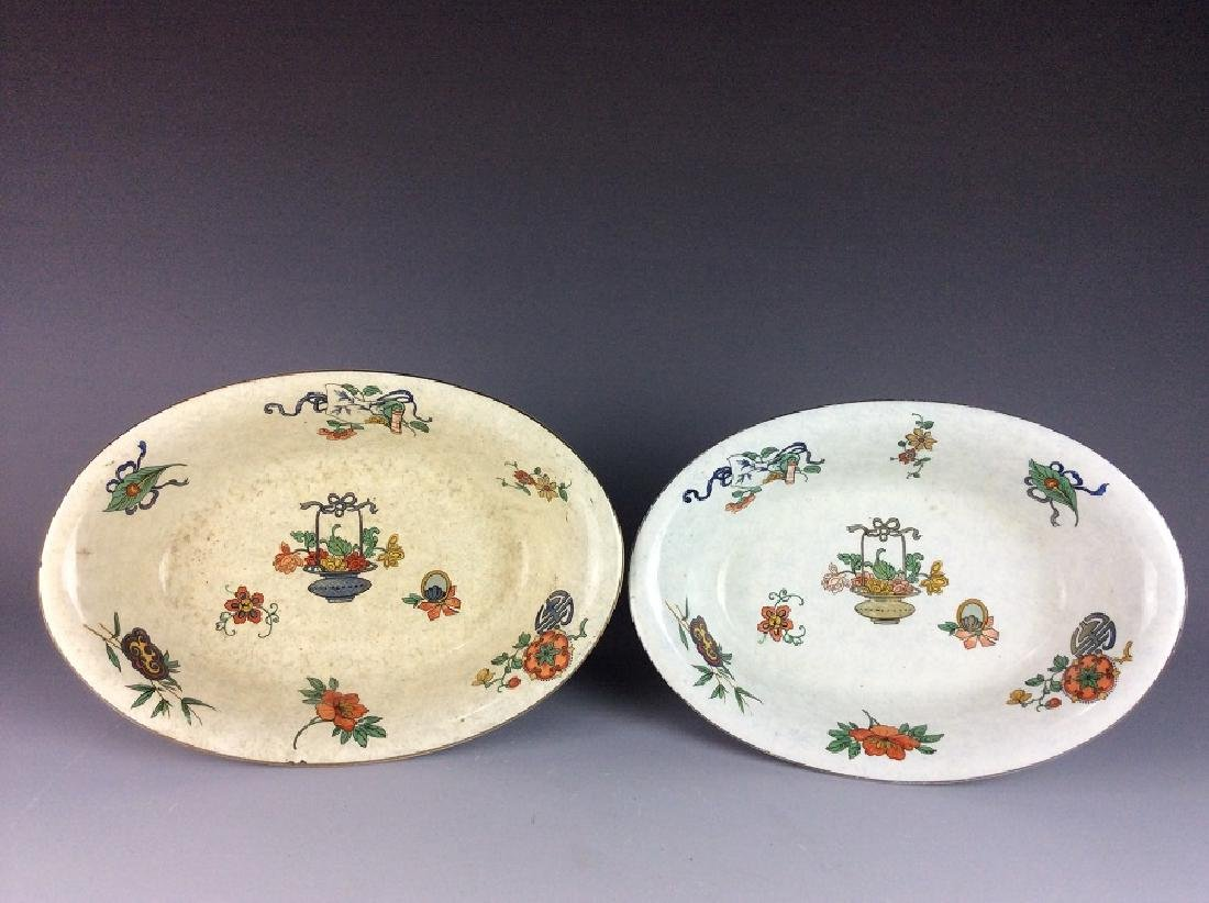 Pair of Chinese export B/W porcelain bowls