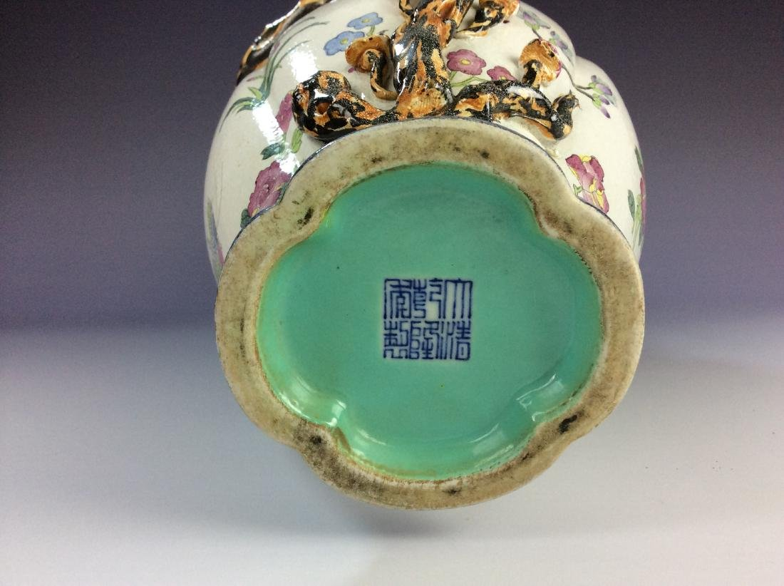 Exquisite Chinese vase with molding peach tree and - 7