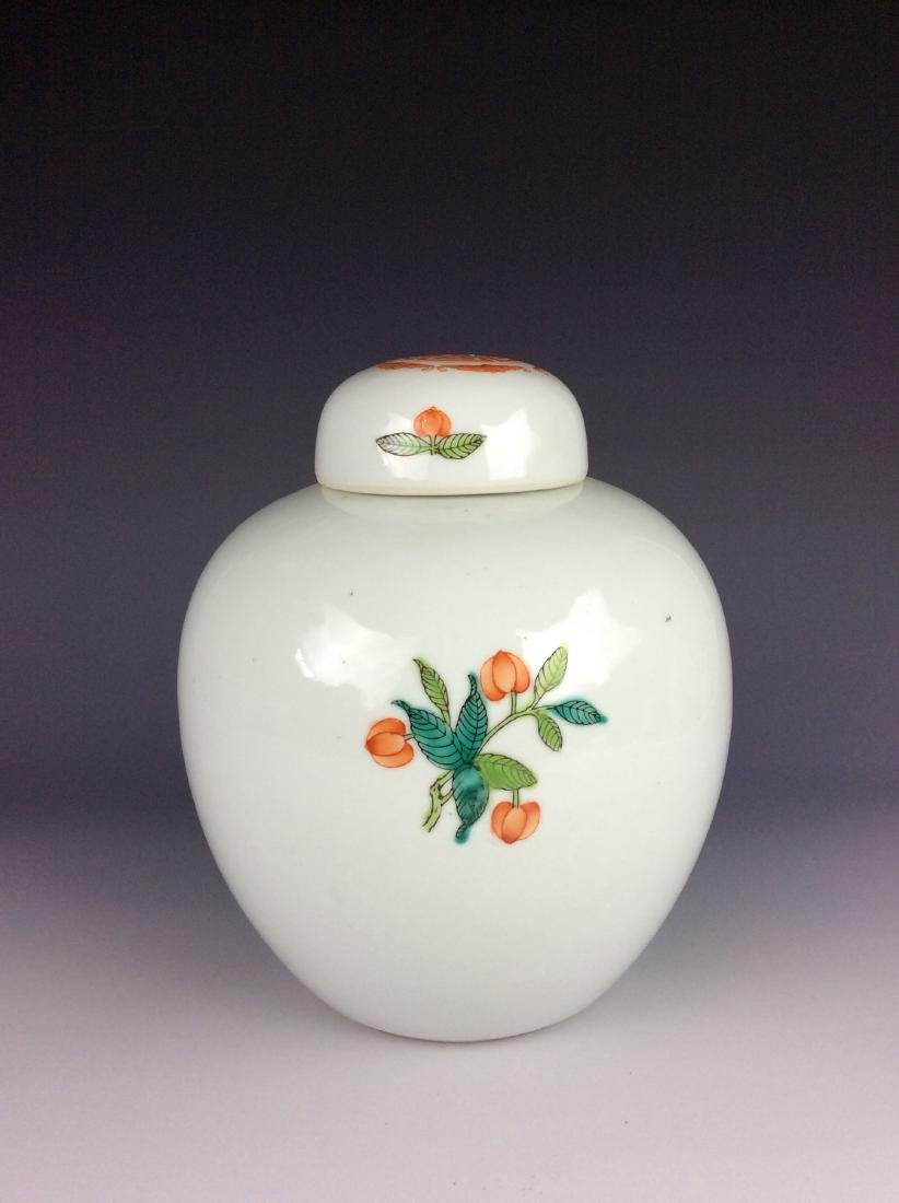 Chinese round lidded pot with fruits mark on base - 2