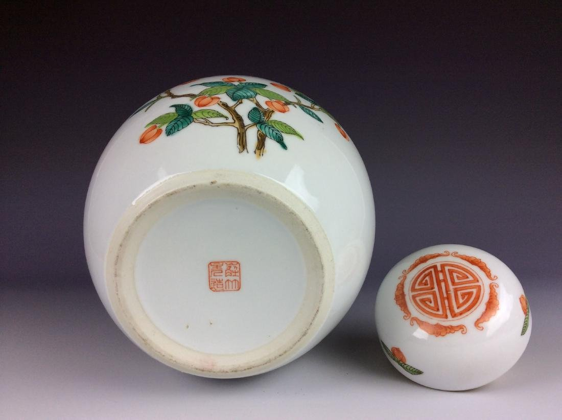 Chinese round lidded pot with fruits mark on base - 4