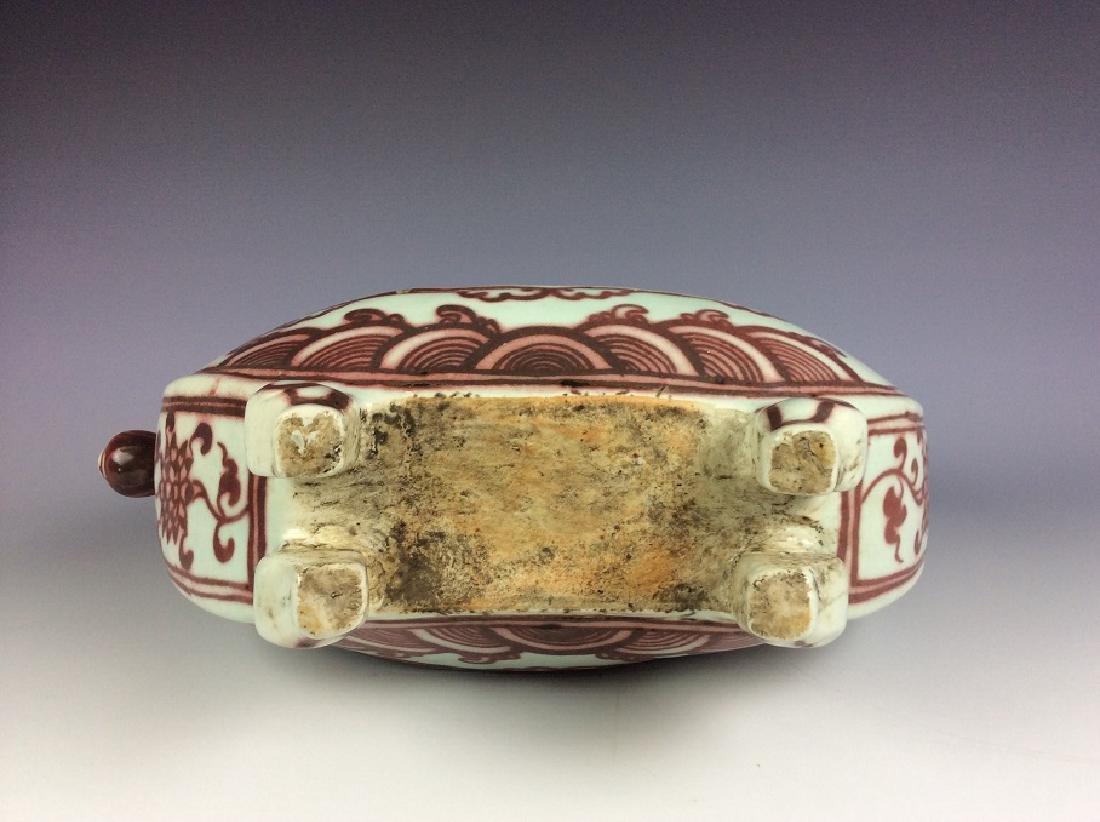 Rare Chinese under glaze red porcelain kendi - 6