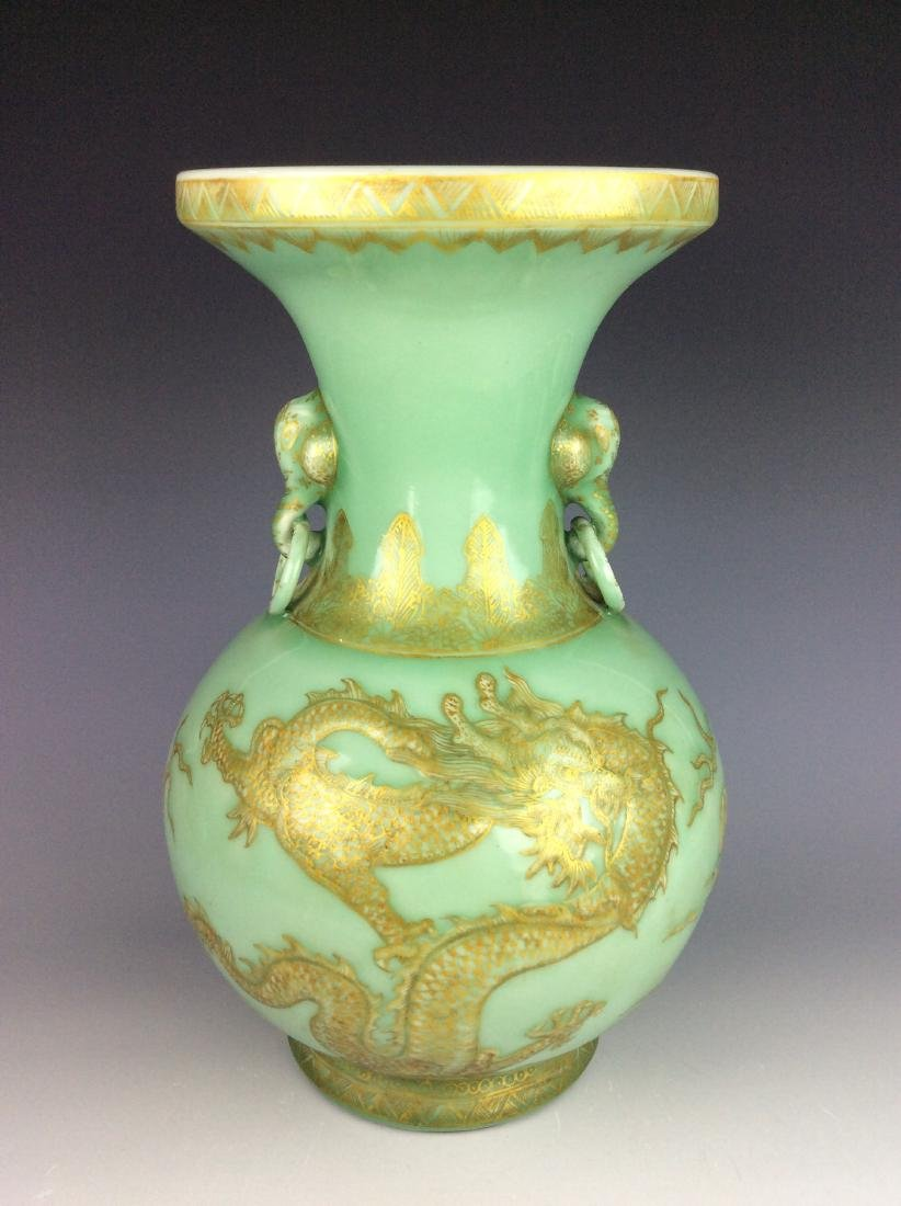Chinese celadon vase with dragon  double ears and mark