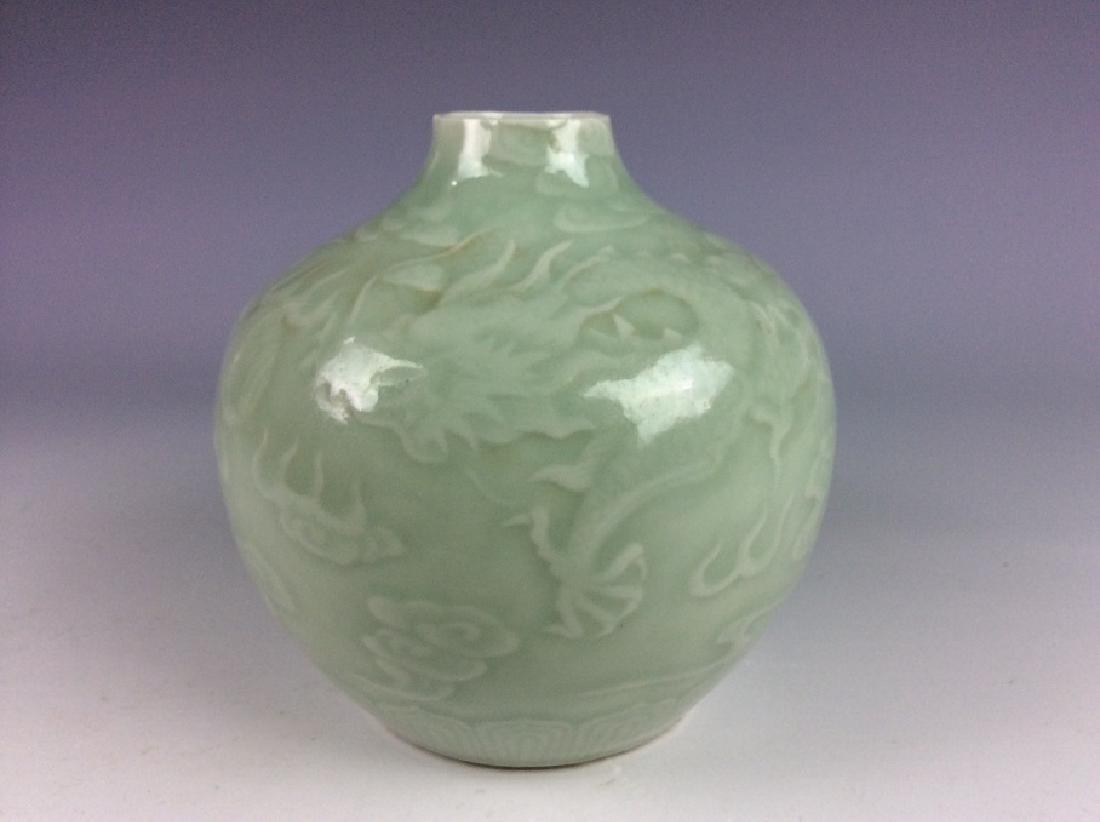 Chinese porcelain vase, celadon glazed, decorate &