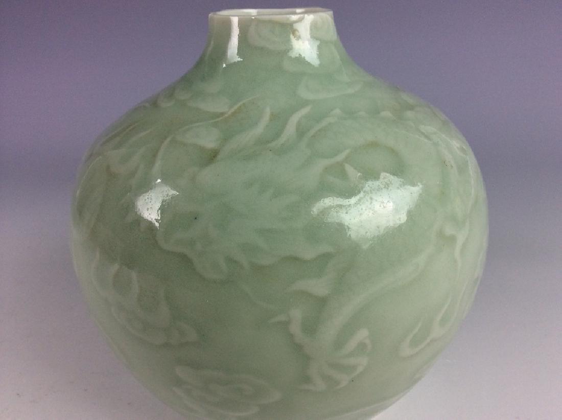 Chinese porcelain vase, celadon glazed, decorate & - 3
