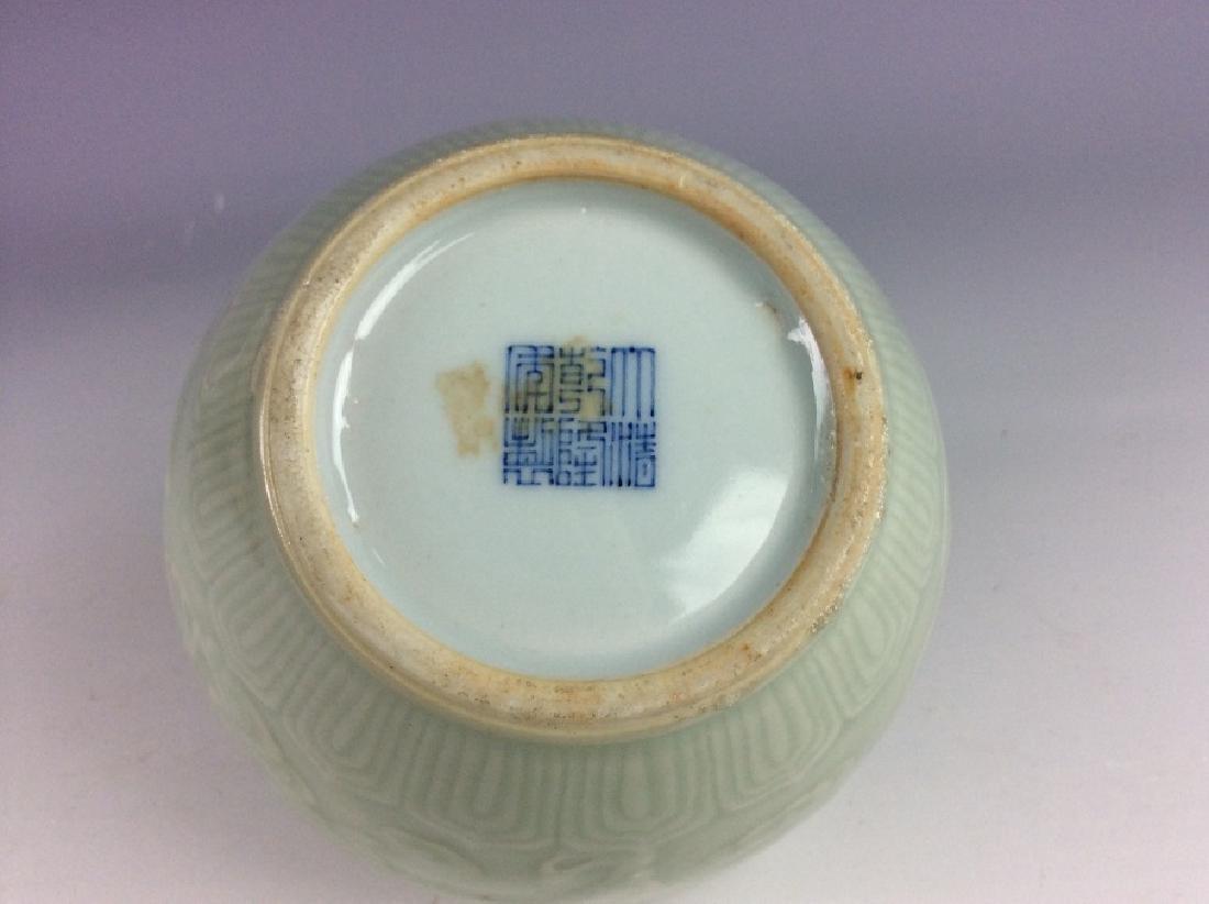 Chinese porcelain vase, celadon glazed, decorate & - 5
