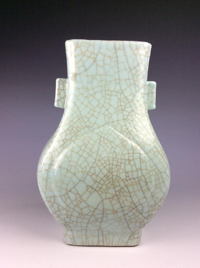 Chinese celadon crackled glaze vase with twin ears and