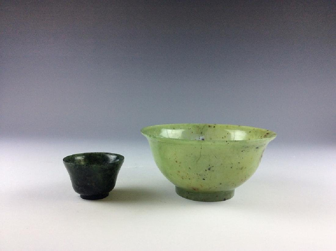 Pair of spinach jade bowls
