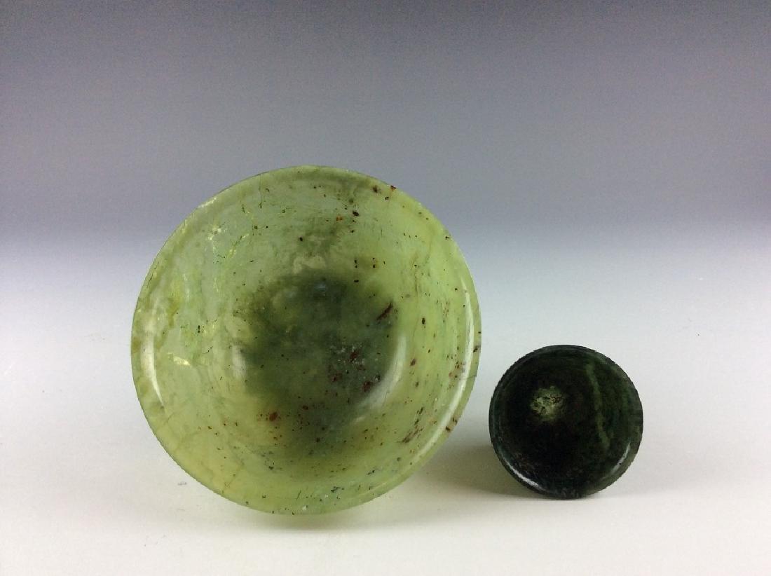 Pair of spinach jade bowls - 2