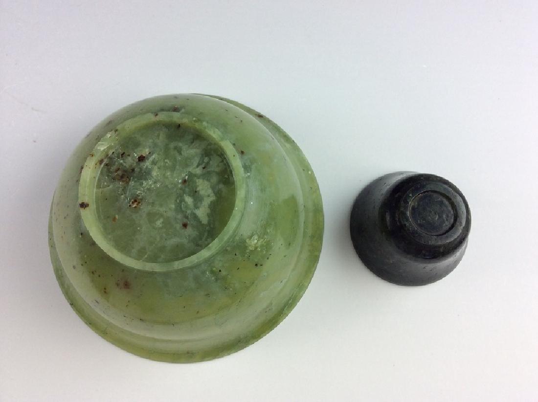 Pair of spinach jade bowls - 3