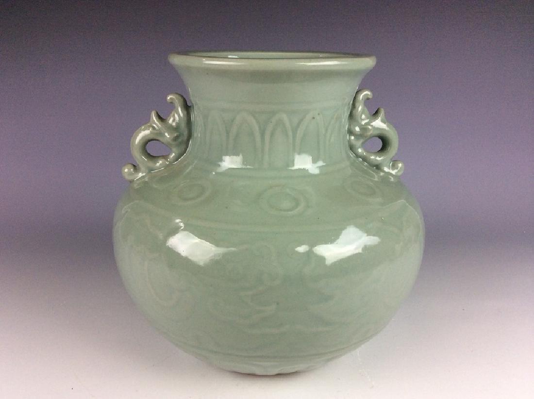 Fine Qing style Chinese porcelain vase, celadon glazed,