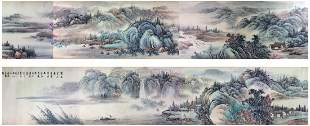 Chinese hand painted hand scroll depicting spring land