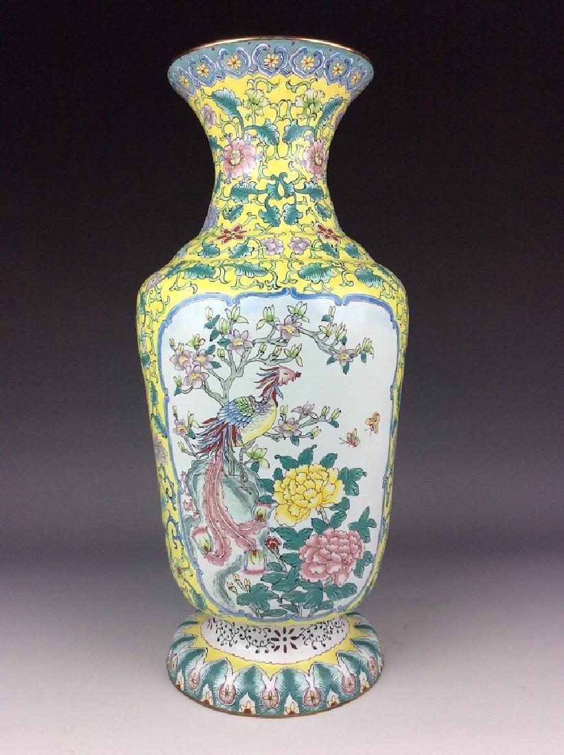 Chinese copper base enamel vase painted with phoenix
