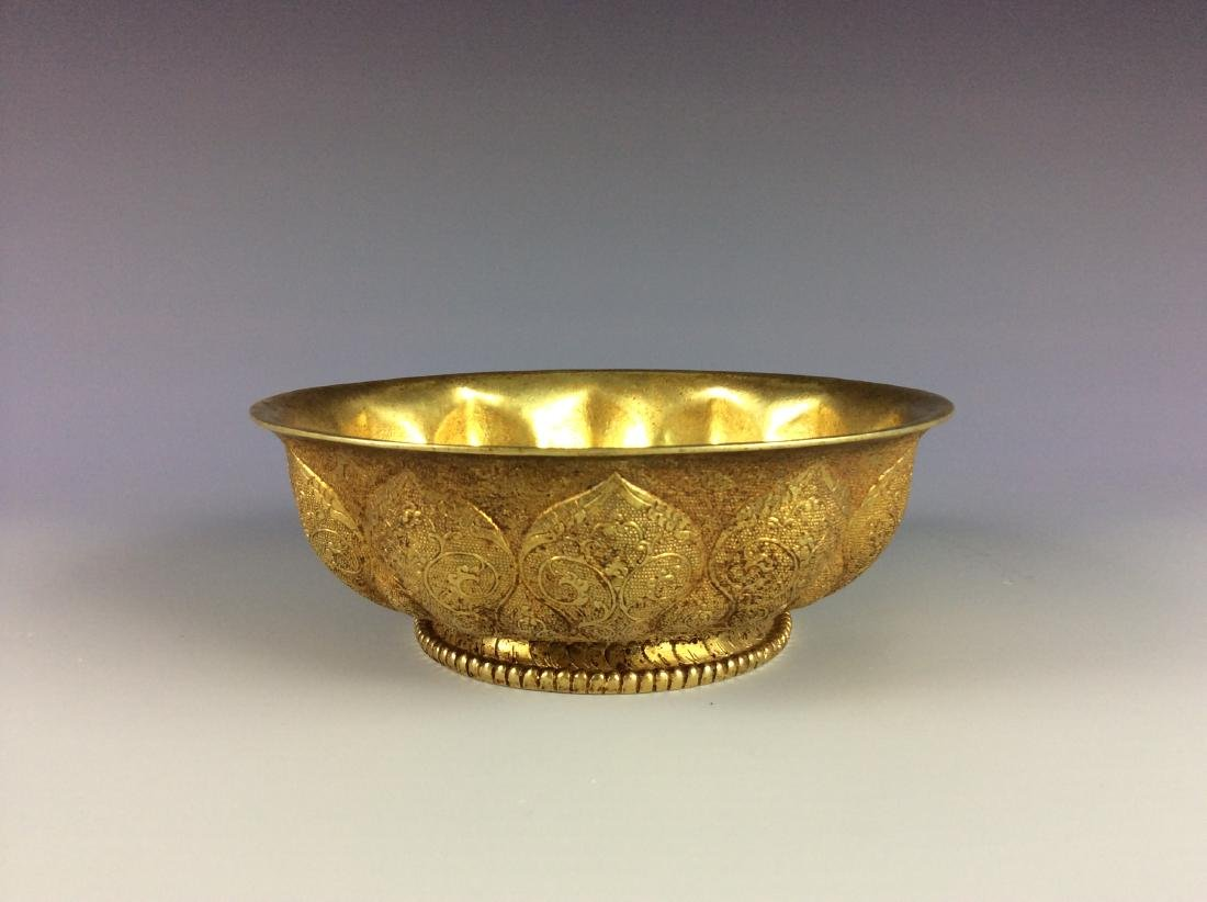 Exquisite Chinese chisel engraved metal cup with twin