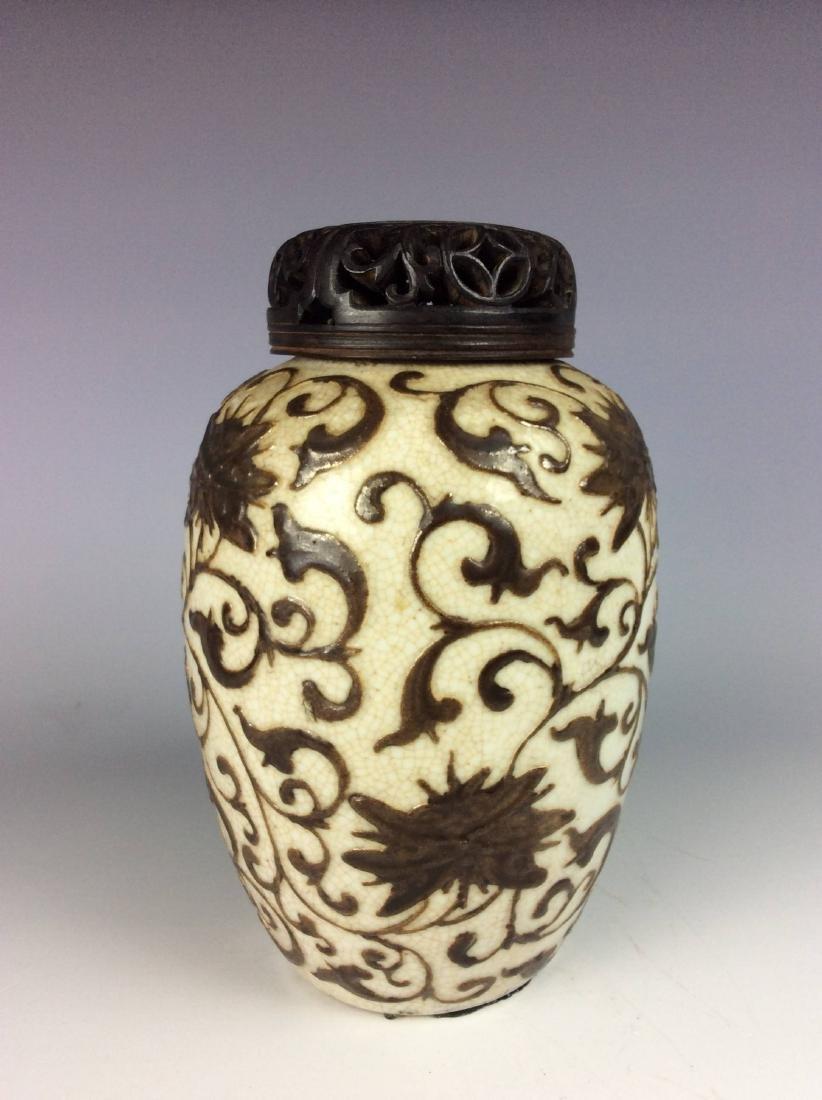 Vintage Chinese crackled glaze pot