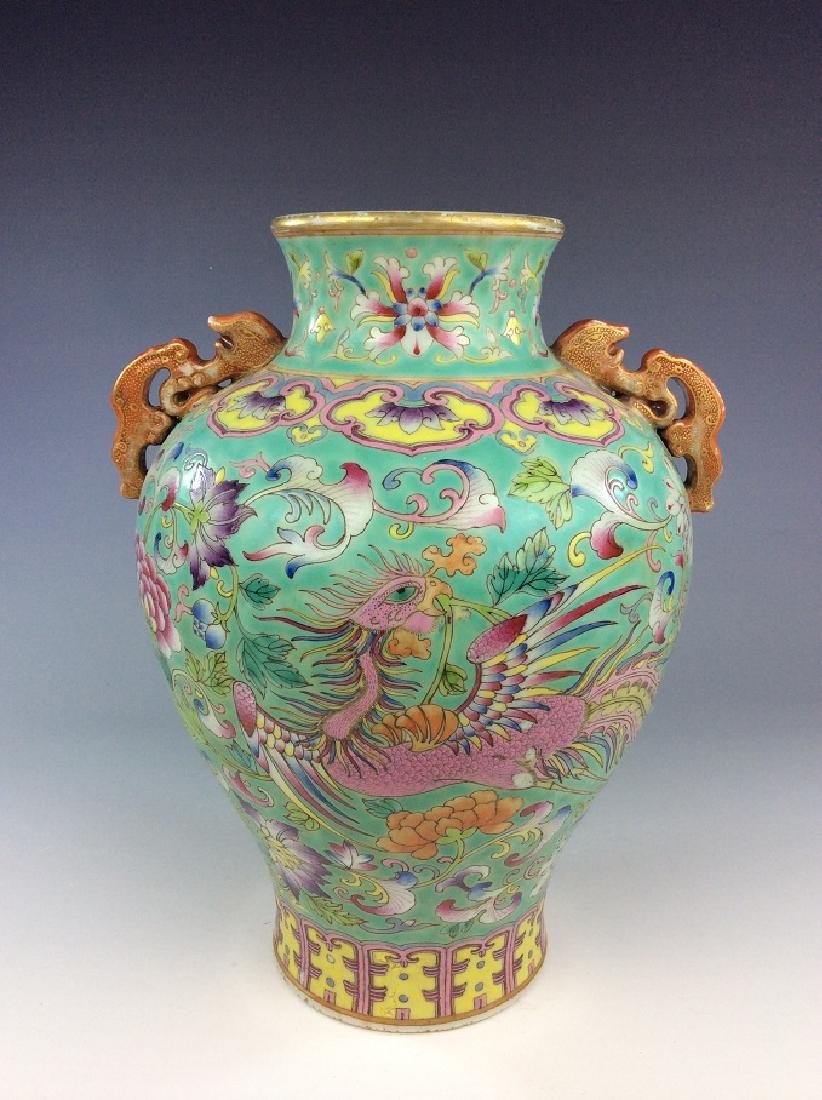 Chinese vase with phoenix double ears