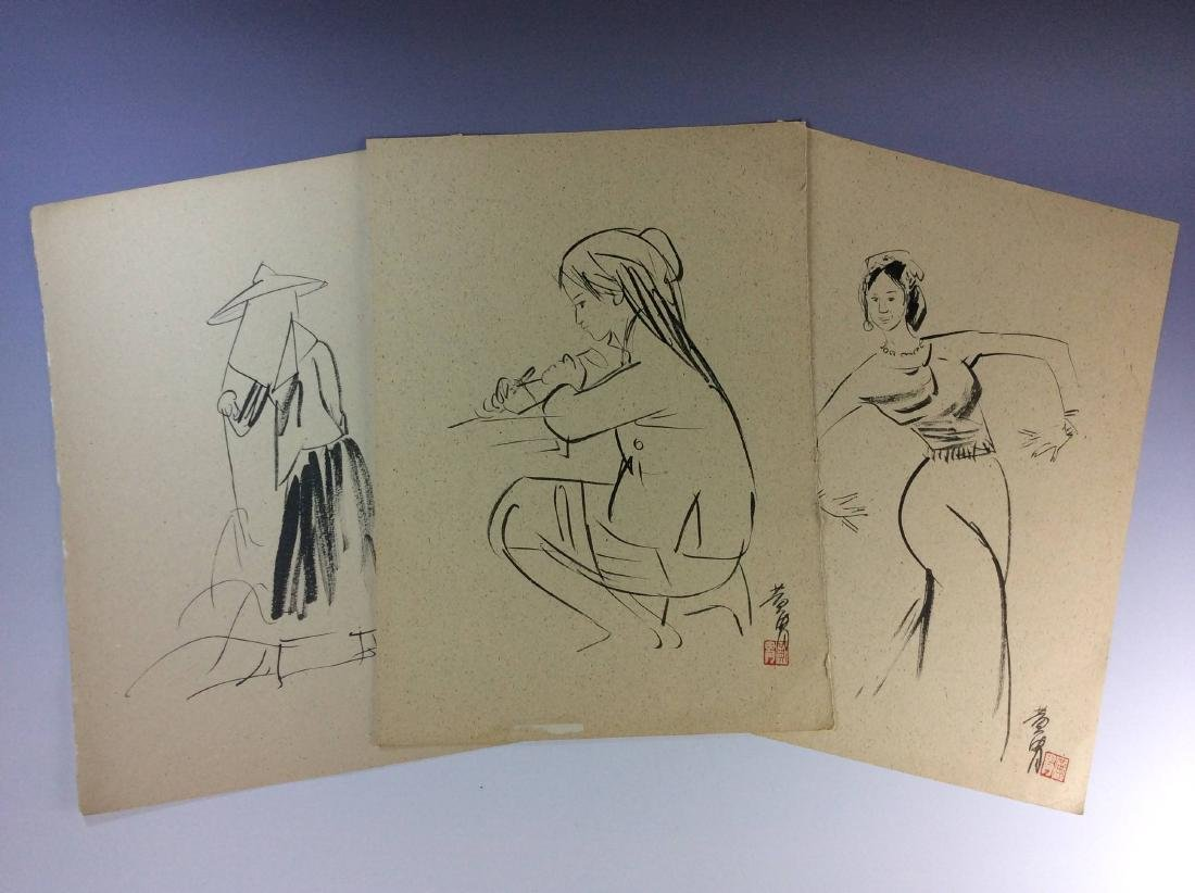 Set of three sketch leaves of figures