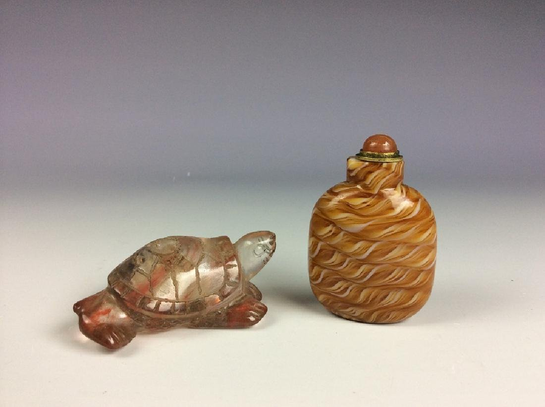 Set of two Chinese glass and agate snuffle bottles