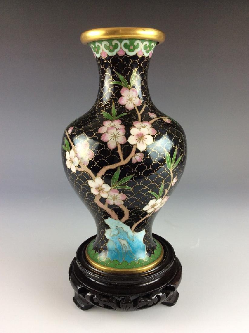 Elegant metal base cloisonne vase