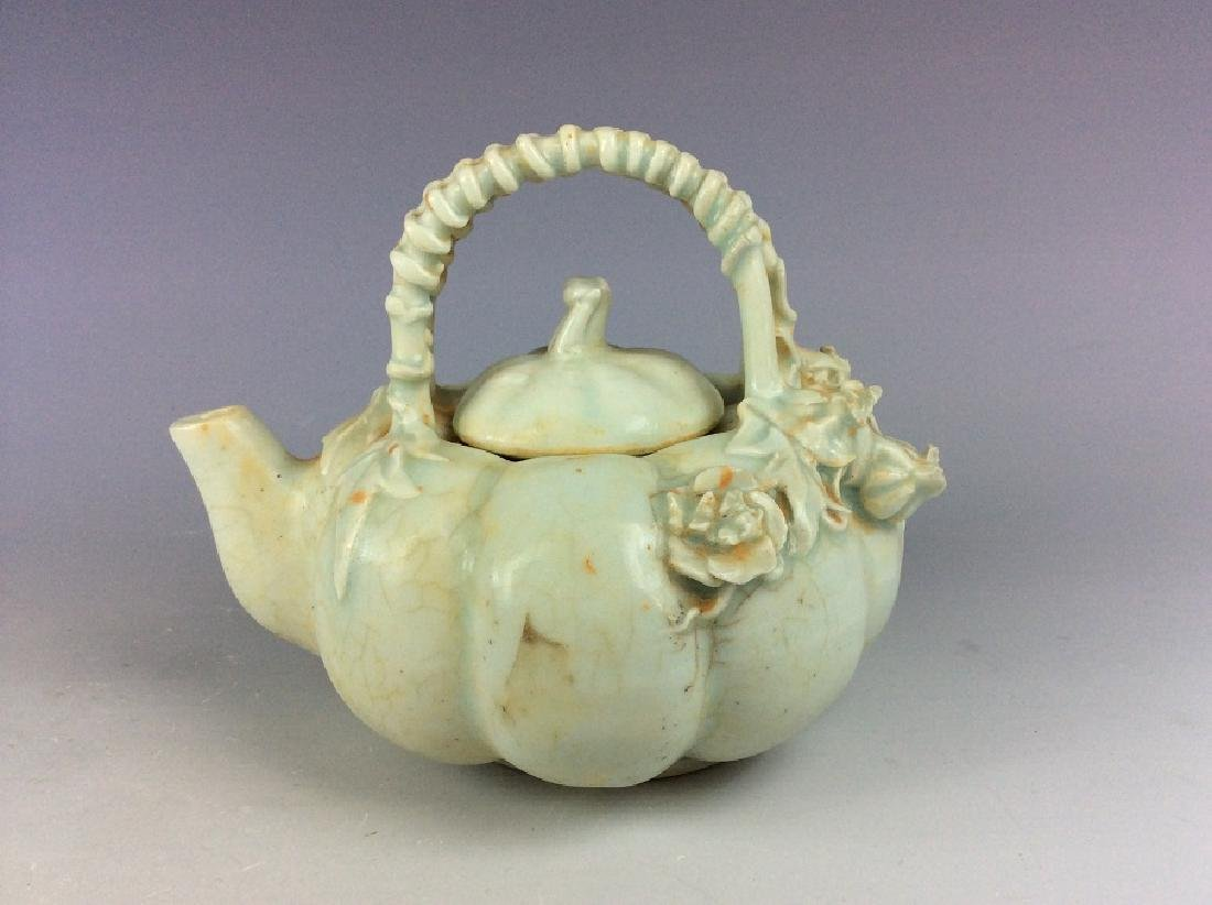 Chinese misty blue porcelain handle pot