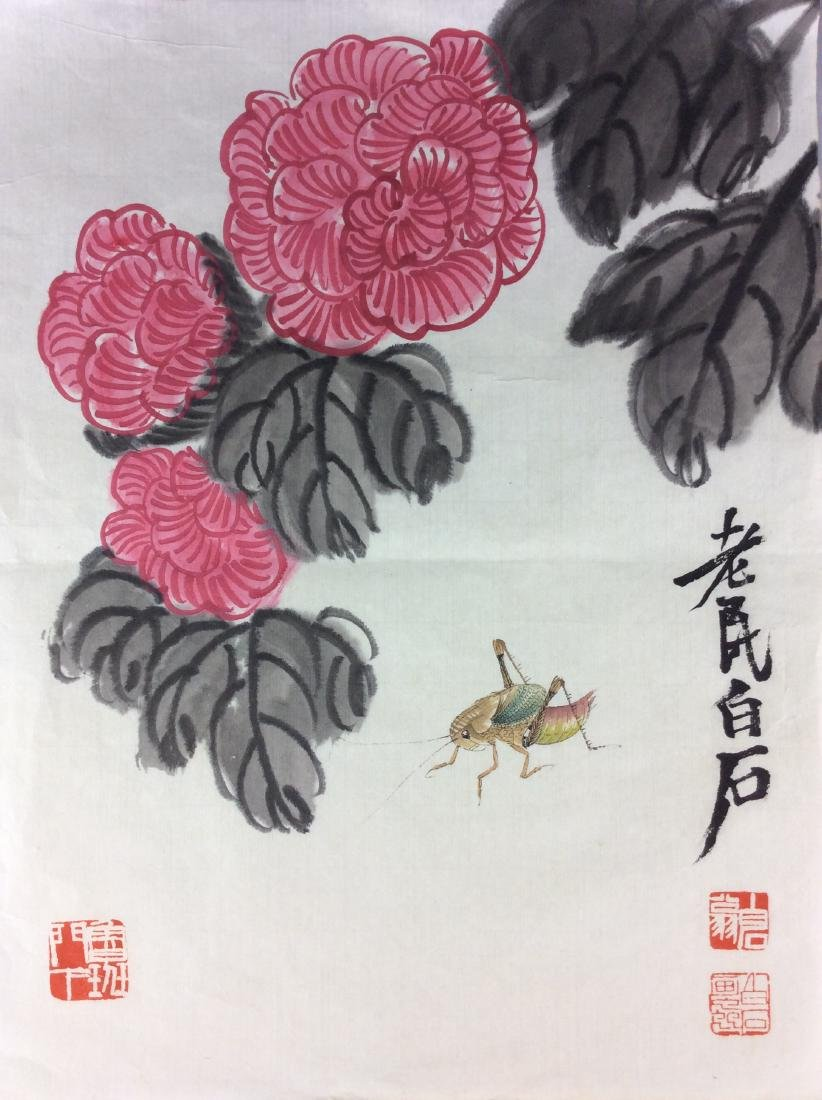Chinese painting, water color and ink hand painted on