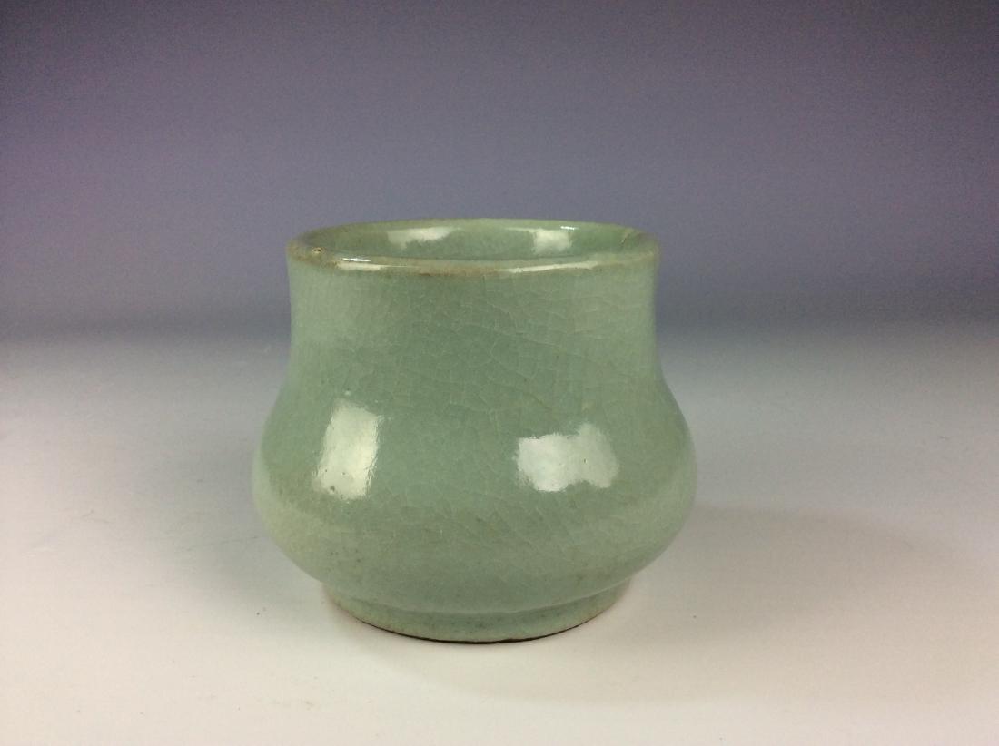 Chinese celadon crackled glaze pot with mark