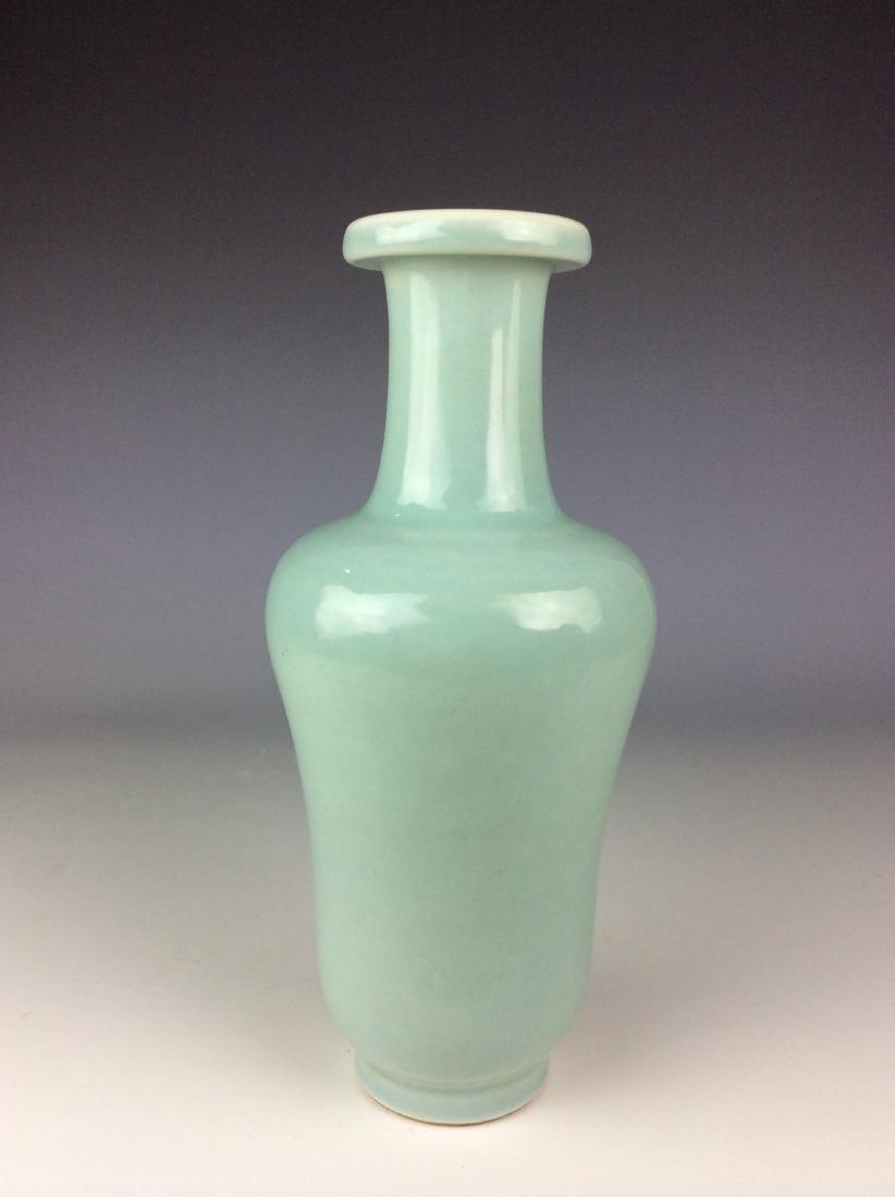 Chinese powder blue vase six-character mark on base