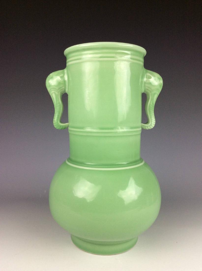 Large Chinese green / celadon glaze porcelain vase,