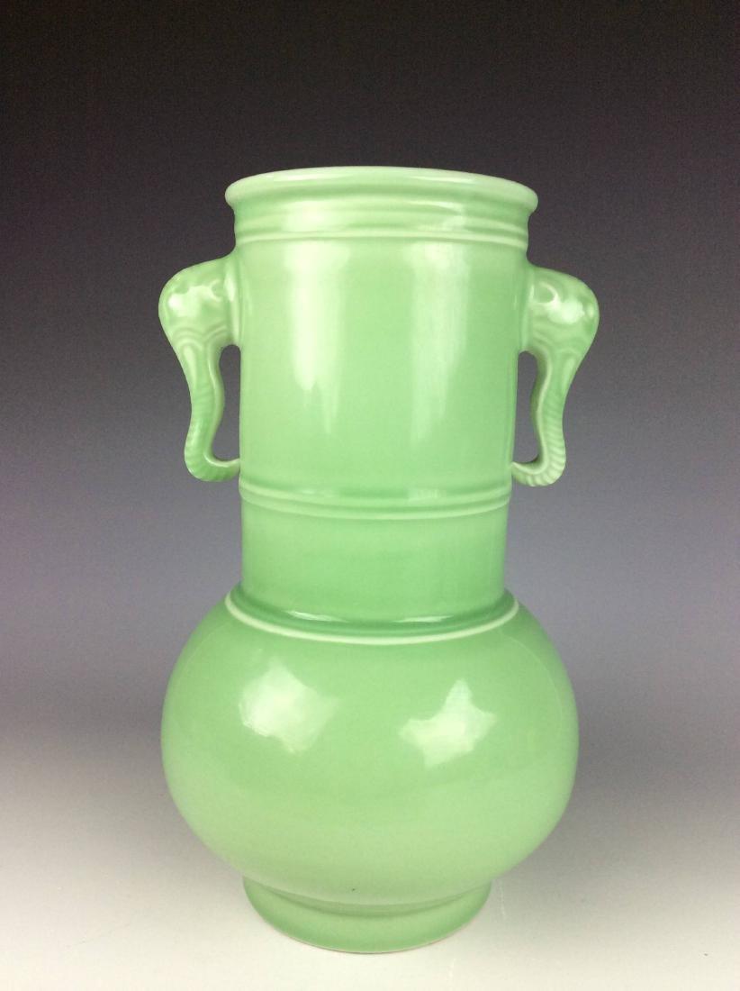 Large Chinese green / celadon glaze porcelain vase, - 2