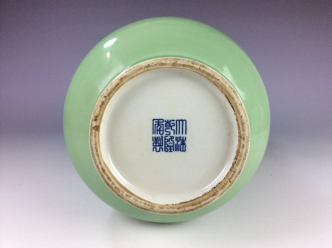 Large Chinese green / celadon glaze porcelain vase, - 5