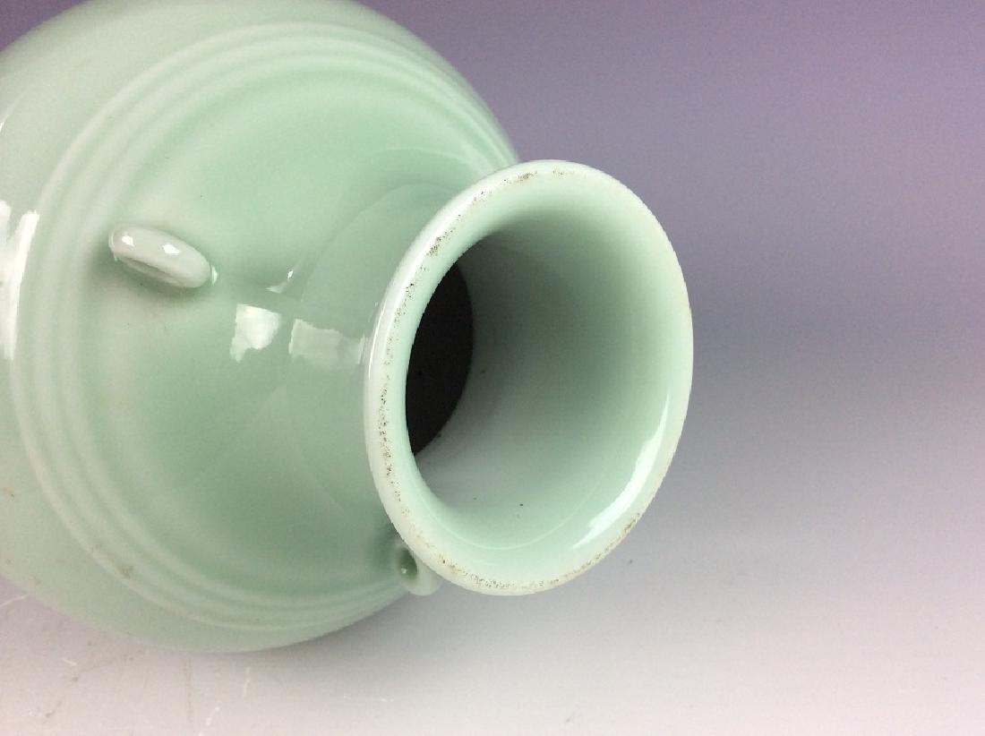 Fine Qing style Chinese porcelain vase, celadon glazed, - 4