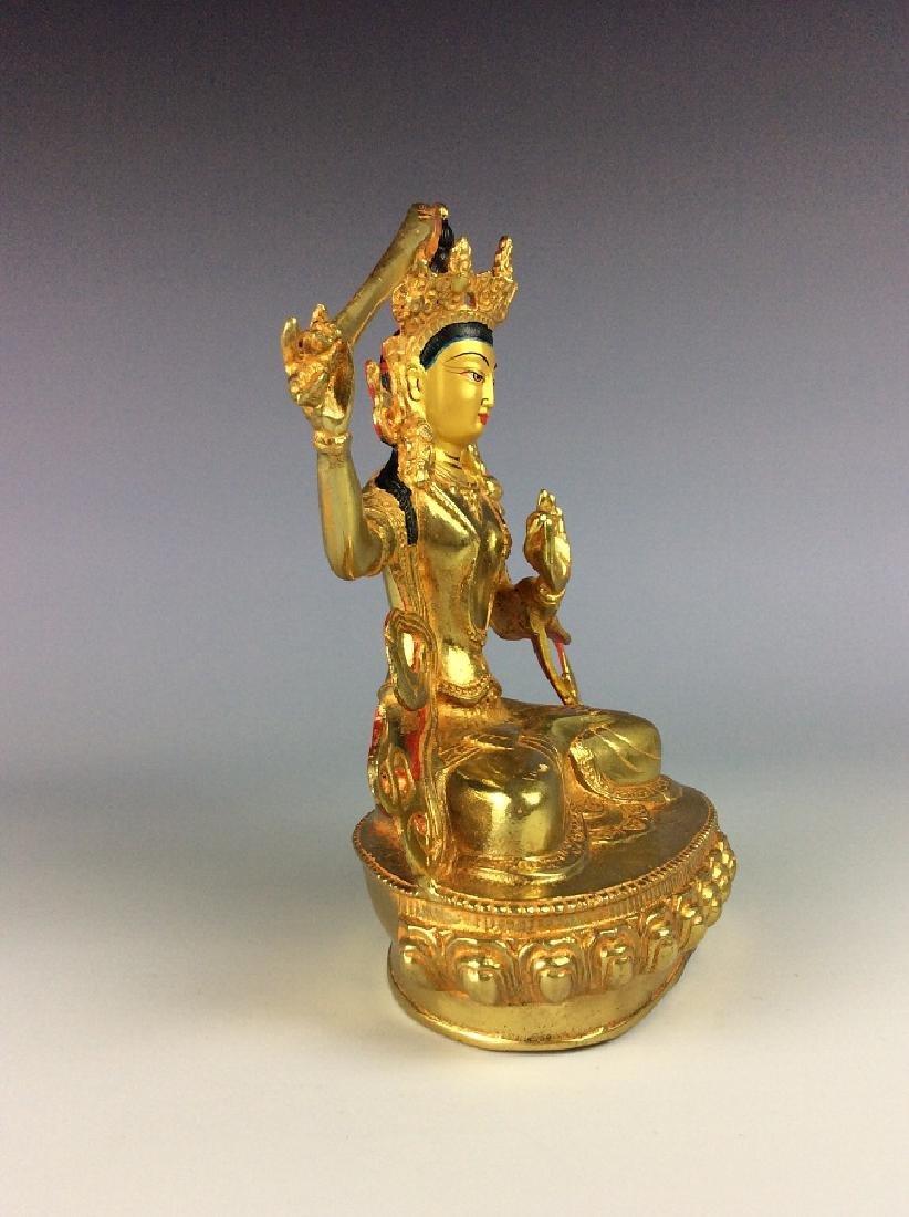 Rare Chinese gilt-bronze buddha figure, - 3