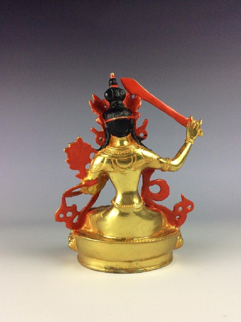Rare Chinese gilt-bronze buddha figure, - 4