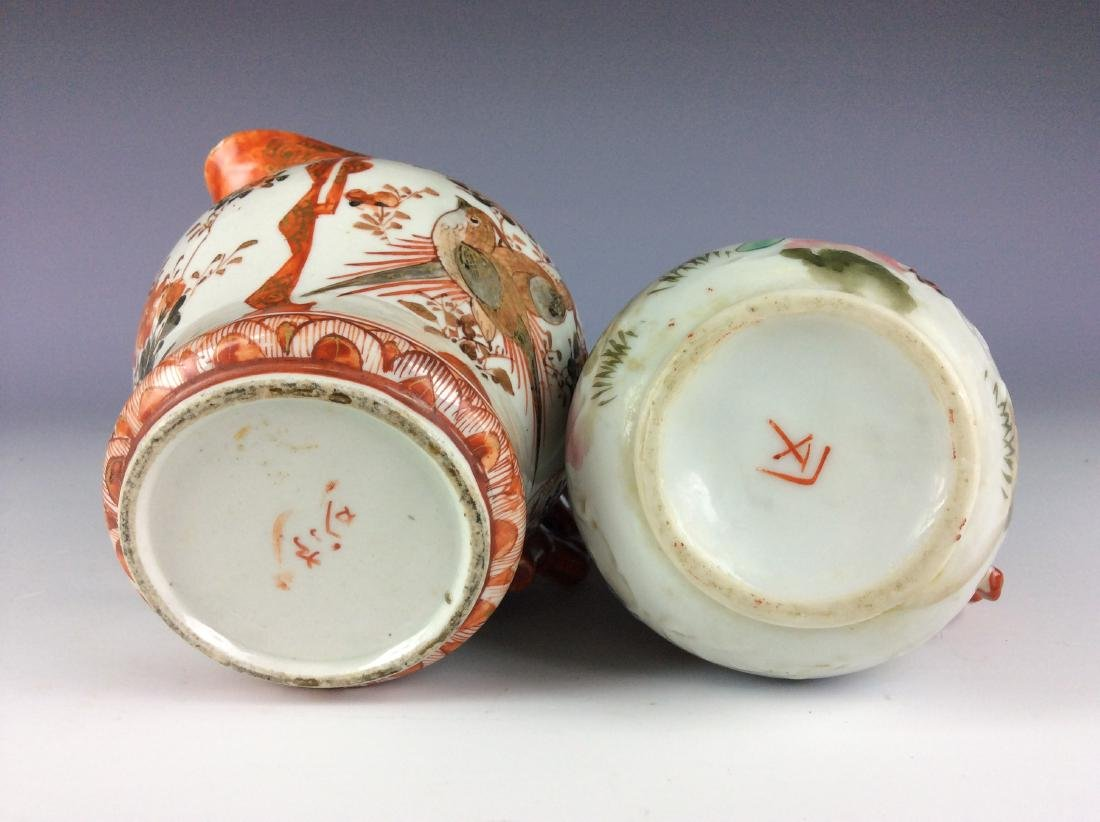 Pair of Japanese porcelain pots with flower and figures - 4