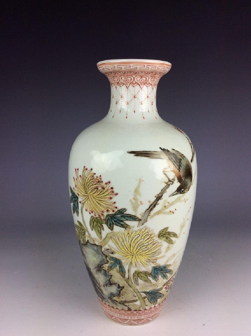 Chinese vase with bird chrysanthemum and calligraphy